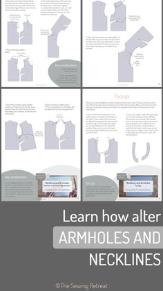 Learn how to alter armholes and necklines on your sewing patterns with our pattern cutting course Sewing Hacks, Sewing Tutorials, Sewing Crafts, Sewing Projects, Video Tutorials, Sewing Tips, Sewing Ideas, Sewing Patterns Free, Free Sewing