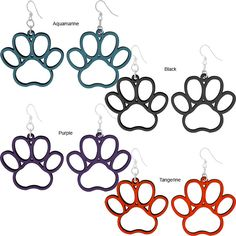 Paw Print Wood Earrings ~ $15 ~ Color: Purple ~ www.theanimalrescutesite.com ~ Helps fund food for rescued animals :-)