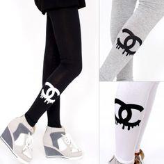 Chanel Inspired Leggings-Korean Fashion, Unique Style Clothing Online. Korean Dresses, Fashion Leggings, Printed Leggings, Garter Leggings, Space Galaxy Leggings, Cartoon Leggings, Sexy Leggings, Mesh Leggings, Lace Leggings, Stripe Leggings. #korean #kpop #leggings #fashiontoany