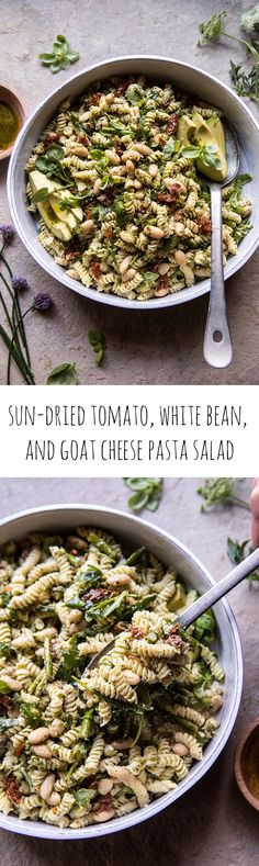 Sun-Dried Tomato, White Bean, and Goat Cheese Pasta Salad | halfbakedharvest.com #quick #healthy #easyrecipes #salad