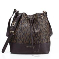 Michael Kors Jules Drawstring Logo Color-Block Small Coffee Shoulder Bags