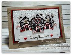 Sweet Houses using Candy Cane Lane Patterned Papers from @stampinup #stampalatte…