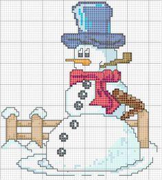 Schema punto croce Omino-di-neve