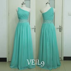 One Shoulder Prom Dress Chiffon Bridesmaid Gown Homecoming Party dresses Floor Long dress Turquoise Dance Gowns Custom Formal Evening dress