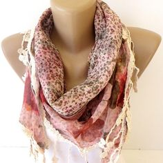 floral scarf womens fashion accessory scarves cowl scarf by seno, $19.00
