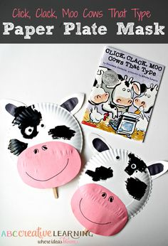 Easy and fun paper plate mask perfect for pretend playing! Perfect for your animal lover or little farmers! Click, Clack, Moo Cows That Type Cow Paper Plate Mask - abccreativelearning.com