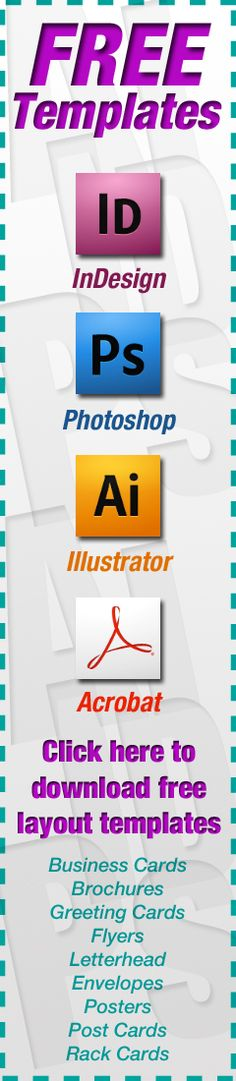 FREE layout templates for business cards, brochures, envelopes, flyers, greeting cards, posters, post cards and rack cards. $0.00 www.serviceprinters.com/help/free-templates.html