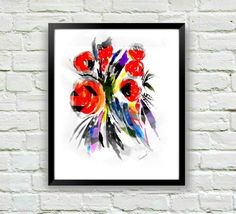Abstract Flower Print, Floral Print, Red Art Print, Red Flower Art, Floral Wall Art, Abstract Floral Painting, Floral Decor