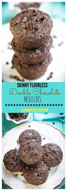 Skinny Flourless Double Chocolate Muffins are the perfect healthy breakfast. They are are gluten free and have no butter, no oil, and no white flour.