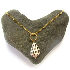 Seashell Necklace Small Hebrew Cone Shell by HanaMauiCreations