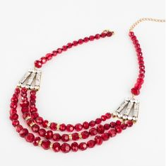 """The Gianna Necklace Layred red beaded necklace with crystal and gold accents and a gold clasp. 20"""" to 23"""" adj.  $14 (click visit, shop, then specials. Select """"tsaopen"""" as your party when you order and you'll be entered to win free jewelry 📿)"""