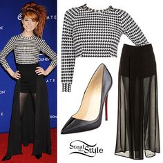Lindsey Stirling: Houndstooth Top, Patent Pumps...love this outfit