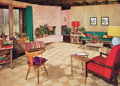 1954 living room. That chaise lounge has upholstery similar to our sofa.