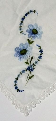 Vintage White Cotton Handkerchief with Embroidered Blue Flowers & Lace Edging (#2310) by CherishedAgain on Etsy