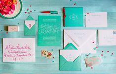 Каллиграфия на свадьбе, бирюзовое приглашение на свадьбу
