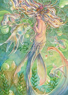 Mermaid Art Print - Rainbow with Pearls and Seashells by Sara M Butcher