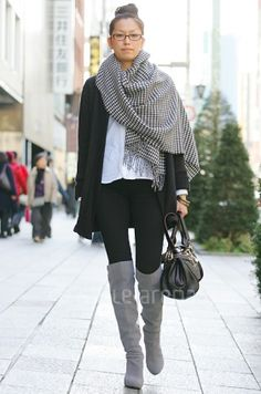shawl/scarf+ over the knee boots+ leggings+ big tee+ oversized sweater/cardigan+ glasses