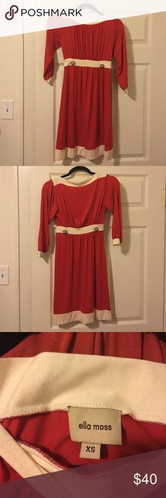 Ella Moss vintage-inspired dress Would be perfect for a teacher or to wear to the office. The dress is a burnt orange with cream accents. Has a boatneck, 3/4 sleeves, length hits right at the knees, and is super comfortable. Pair it with tights and boots and it's perfect for fall. Ella Moss Dresses