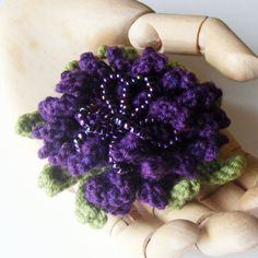 Corsage Brooch Purple Aster Flower Hand Knitted by ShooglyBeads