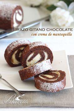Brazo gitano de chocolate con crema de mantequilla al coñac
