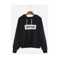SheIn(sheinside) Black Letter Print Hooded Sweatshirt (24 CAD) ❤ liked on Polyvore featuring tops, hoodies, black, print hoodies, long sleeve pullover hoodie, pullover hoodie, sleeve hoodie and sweatshirt hoodies
