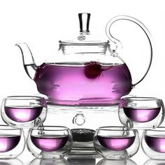 Teaology Fiore Borosilicate Blooming Teapot and Glass Set (Fiore), Clear