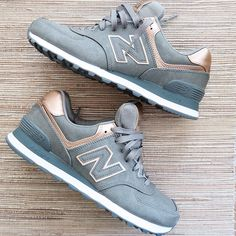 Add a stylish flare to your sneakers with these metallic grey New Balance shoes.