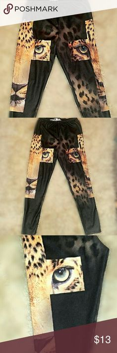 Leopard Cross Leggings Everyone loves these! You will definitely get compliments when you wear them, they are also comfortable: 95% polyester Pants Leggings
