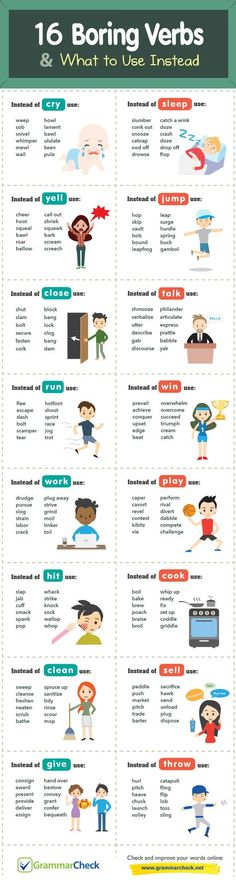 Writers Write is a comprehensive writing resource. In this infographic, we share 16 boring verbs and what to use instead. English Writing Skills, Book Writing Tips, Writing Words, Teaching Writing, English Lessons, Writing Test, English Vocabulary Words, Learn English Words, English Grammar