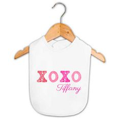 XOXO Kiss Hug Baby Girl Name Bib   Personalized Baby Gifts   Word On Baby $11.95