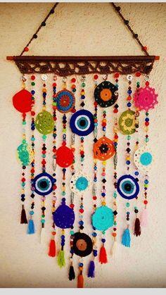 Crochet Decoration, Crochet Home Decor, Crochet Crafts, Yarn Crafts, Crochet Projects, Paper Crafts, Crochet Dreamcatcher, Crochet Mandala, Crochet Flowers