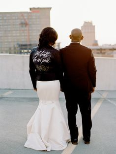 """Bride in Leather """"Til Death Do Us Part"""" Leather Jacket at Romantic Lancaster Wedding at Excelsior with Destination Film Wedding Photographer, Renee Hollingshead as seen on Style Me Pretty and Our Love In Color Magazine with Simply Events Inc, Laura of Lauxmont, Francesca's Bridal, Badgley Mischka, Katie May Collection, The Black Tux, Glam Qui, and more Baltimore Wedding, Wedding Jacket, Wedding Styles, Wedding Ideas, Wedding Pictures, Diy Wedding, Wedding Stuff, Wedding Planning, Dream Wedding"""