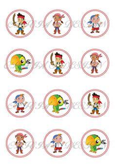 Jake y los piratas Stickers cupcake toppers etiquetas por OLDesign, $2.00