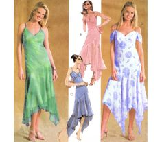 """2004 Evening Elegance Shaped Hem Gown, Wide V-Neck, Spaghetti Straps, Dropped Waist, Sheer Over Dress, McCall's 4373 Bust 31 1/2""""-36"""", Uncut"""