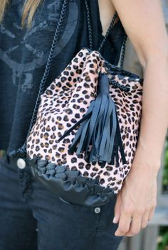 Leather Pony Skin Bag  Leopard Bucket Purse with by EleannaKatsira