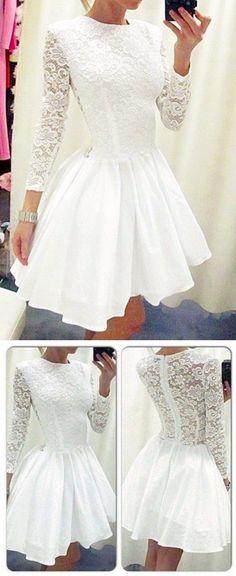 White Homecoming Dress,Cute Prom Dress,Lace Prom Dress,Sleeve Dress,Short Prom Dresses,Long Sleeves Homecoming Dresses