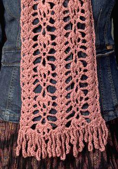 Ravelry: Waikiki Scarf pattern by Marilyn Losee--size 4 Crochet Scarves, Crochet Shawl, Crochet Clothes, Crochet Stitches, Crochet Hooks, Free Crochet, Knit Crochet, Crocheted Scarf, Crochet Accessories