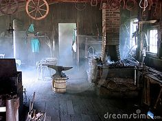 Blacksmith shop in the morning  My grandfather was a blacksmith--great childhood memories