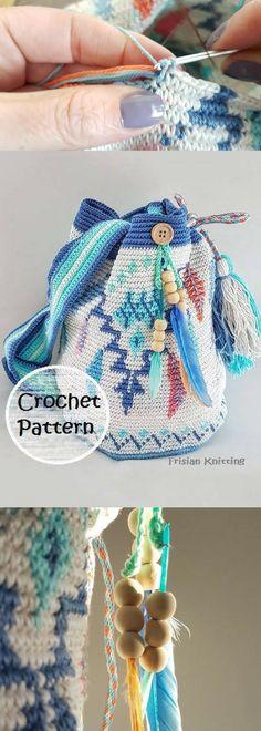 Pattern mochila bag // tapestry crochet // Feather bag pattern // Wayuu mochila bag // crochet pattern bag // kumihimo tutorial #affiliatelink