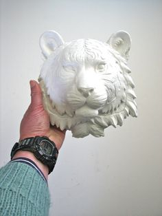 Small Faux Taxidermy Tiger Animal Head wall mount by mahzerandvee