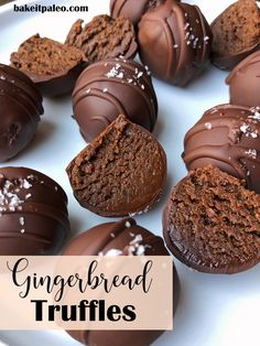 Chocolate Gingerbread Truffles These secretly healthy dairy free and gluten free truffles are perfect for a holiday gathering Sweetened with dates Paleo Vegan and easy t. Paleo Chocolate, Chocolate Truffles, Chocolate Recipes, Chocolate Treats, Candy Recipes, Sweet Recipes, Dessert Recipes, Paleo Vegan, Vegetarian