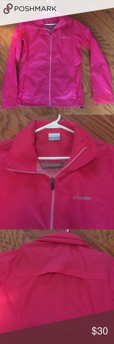 Columbia Switchback II Jacket EUC - worn once. 100% nylon. Full zipper. Water resistant jacket with stowaway hood. Zipper vertical welt pockets. Drawcord hem. Velcro tightening sleeves. Smoke free home. Columbia Jackets & Coats