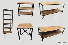 Industrial Retail Fixtures, Carts and Tables: Made from Reclaimed Hardwood and Distressed Metal Bases. --- Ideas for nutrition rack Reclaimed Wood Furniture, Recycled Furniture, Metal Furniture, Industrial Furniture, Industrial Chic, Retail Fixtures, Store Fixtures, Industrial Restaurant, Gym Decor