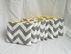 Set of 8 - Embroidered Makeup bag - Personalized Chevron Pouch - Bridesmaid clutches - Small