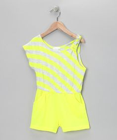 Yellow Stripe One-Sleeve Romper - Infant, Toddler Girls