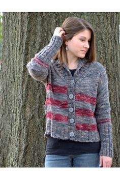 NobleKnits.com - Plymouth Coffee Beenz Striped Cardigan Knitting Pattern  2785, $5.95 (http