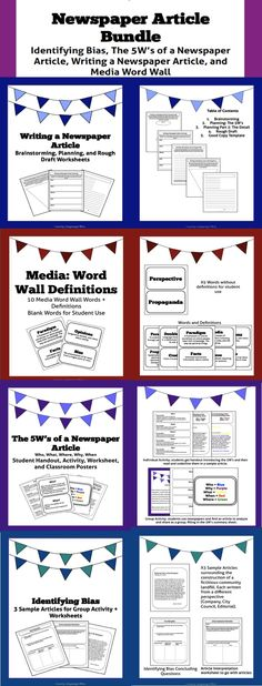 Introduction to Newspaper Articles and Media Studies Bundle 8th Grade Ela, 5th Grade Writing, 4th Grade Reading, Teaching Time, Teaching Tools, Classroom Posters, Classroom Tools, School Newspaper, English Teaching Resources