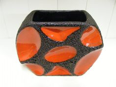 SALE Red Roth Keramik 310 Fat Lava vase by RetroVases on Etsy