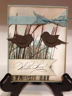 handmade greeting card ... pair of punched birds on tall grass ... Stampin' Up!