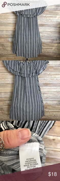 Almost Famous striped dress AlmostFamous Black & white striped dress , ruffled top can be worn on or off shoulder Almost Famous Dresses